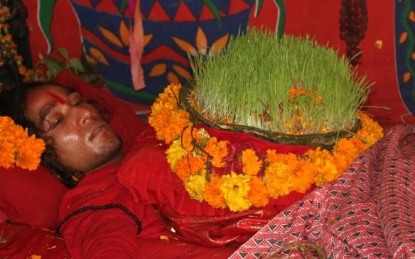 विजय दशमीका अवसरमा काठमाडौंको भद्रकाली मन्दिर परिसरमा जीउमा जमरा उमार्दै राधाकृष्ण गुरु । तस्बिर : रासस